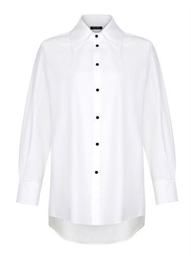 Nocturne Sırt Baskılı Oversize Gömlek Beyaz